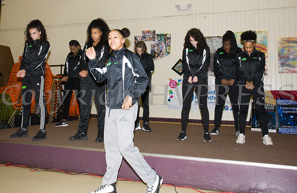 Members of the Energy Dance Company<br /> perform as the Poughkeepsie Healthy Black and Latino Coalition celebrated Black History Month with a Healthy Living Expo at the Catherine Street Community Center in Poughkeepsie, NY on Saturday, February 25, 2017. Hudson Valley Press/CHUCK STEWART, JR.