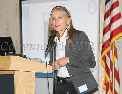 Human Rights Commissioner Nadia Allen introduced honoree Christopher D. Watkins during the 22nd Annual Orange County Human Rights Commission Awards Dinner held on Wednesday, April 19 at Kuhl's Highland House in Middletown. Hudson Press/CHUCK STEWART, JR.