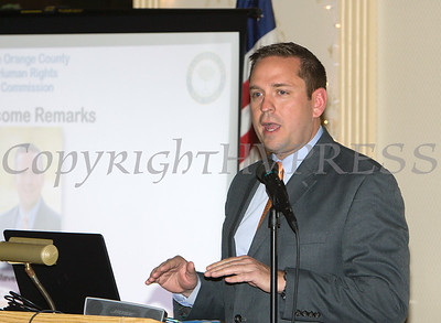 Orange County Executive Steven M. Neuhaus offers remarks for the 22nd Annual Orange County Human Rights Commission Awards Dinner, held on Wednesday, April 19 at Kuhl's Highland House in Middletown. Hudson Press/CHUCK STEWART, JR.