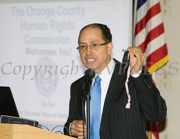 Orange County Human Rights Commissioner Nolly Climes opens the program for the 22nd Annual Orange County Human Rights Commission Awards Dinner, held on Wednesday, April 19 at Kuhl's Highland House in Middletown. Hudson Press/CHUCK STEWART, JR.
