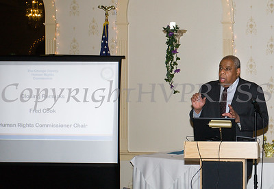 OC Human Rights Commission Chair Fred Cook offers closing remarks for the 22nd Annual Orange County Human Rights Commission Awards Dinner held on Wednesday, April 19 at Kuhl's Highland House in Middletown. Hudson Press/CHUCK STEWART, JR.