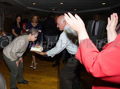 Orange County Legislator Myrna Kemnitz was surprised with a birthday cake during the Latino Democratic Committee of Orange County Fourteenth Annual Fall Dinner Dance at Cafe Internationale in Newburgh, NY on Saturday, October 14, 2017. Hudson Valley Press/CHUCK STEWART, JR.