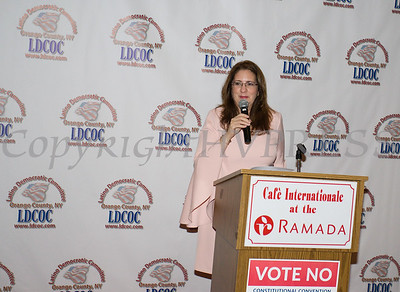Annette Marzan offers remarks after receiving the Leadership Award during the Latino Democratic Committee of Orange County Fourteenth Annual Fall Dinner Dance at Cafe Internationale in Newburgh, NY on Saturday, October 14, 2017. Hudson Valley Press/CHUCK STEWART, JR.