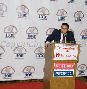 Kevindaryan Lujan introduces Entrepreneurship Honoree Rene Campos at the Latino Democratic Committee of Orange County Fourteenth Annual Fall Dinner Dance at Cafe Internationale in Newburgh, NY on Saturday, October 14, 2017. Hudson Valley Press/CHUCK STEWART, JR.
