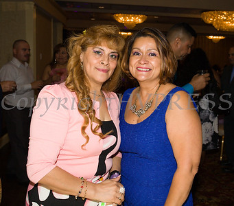 Latinos Unidos of the Hudson Valley Board of Director members Maria Chavarria and Olga Hernandez at the organizations 12th Annual Hispanic Heritage Cultural Celebration at Anthony's Pier 9 in New Windsor, NY on Friday, October 13, 2017. Hudson Valley Press/CHUCK STEWART, JR.