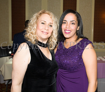 Rosina Tezgeldi and Inaudy Esposito pose for a photo during Latinos Unidos of the Hudson Valley 12th Annual Hispanic Heritage Cultural Celebration at Anthony's Pier 9 in New Windsor, NY on Friday, October 13, 2017. Hudson Valley Press/CHUCK STEWART, JR.