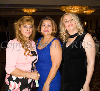 Maria Chavarria, Olga hernandez and Rosina Tezgeldi at the Latinos Unidos of the Hudson Valley 12th Annual Hispanic Heritage Cultural Celebration at Anthony's Pier 9 in New Windsor, NY on Friday, October 13, 2017. Hudson Valley Press/CHUCK STEWART, JR.