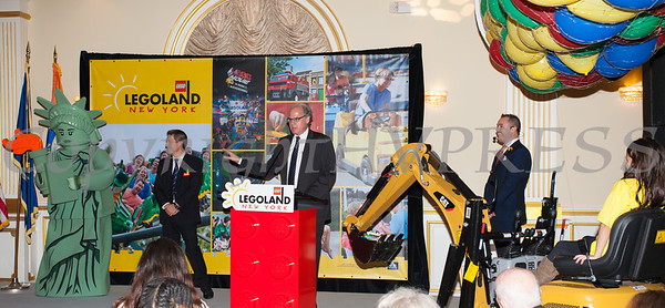 Empire State Development President, CEO, and Commissioner Howard Zemsky offers remarks as Merlin Entertainment officially announced that LEGOLAND New York is being built on Wednesday, October 25, 2017. Hudson Valley Press/CHUCK STEWART, JR.