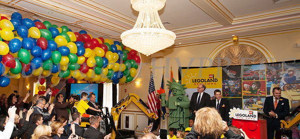 Hundreds of balloons and lego's were released as Merlin Entertainment officially announced that LEGOLAND New York is being built on Wednesday, October 25, 2017. Hudson Valley Press/CHUCK STEWART, JR.