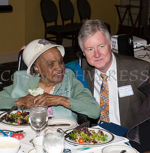 Orange County Director of Operations Harry Porr with Meals on Wheels of Greater Newburgh founder Frederica Warner, who is celeberating her 100th birthday, and the organizations 45th anniversary on Sunday, November 19, 2017 at the Powelton Club in Newburgh, NY. Hudson Valley Press/CHUCK STEWART, JR.