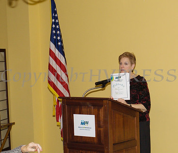 Meals on Wheels of Greater Newburgh Executive Director Robin Bello offers remarks as the organization celebrated its 45th anniversary and its founder, Frederica Warner's 100th birthday on Sunday, November 19, 2017 at the Powelton Club in Newburgh, NY. Hudson Valley Press/CHUCK STEWART, JR.