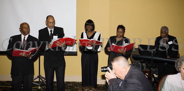 "The Bishop JB Thompson Anthem Choir performs ""Lift Every Voice and Sing"" as Meals on Wheels of Greater Newburgh celebrated its 45th anniversary and its founder, Frederica Warner's 100th birthday on Sunday, November 19, 2017 at the Powelton Club in Newburgh, NY. Hudson Valley Press/CHUCK STEWART, JR."