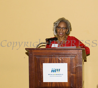 Linda Lewis-Burger, head of the event celebration committee also mc'd the Meals on Wheels of Greater Newburgh celebration of its 45th anniversary and its founder, Frederica Warner's 100th birthday on Sunday, November 19, 2017 at the Powelton Club in Newburgh, NY. Hudson Valley Press/CHUCK STEWART, JR.