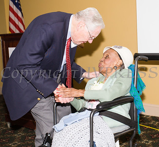 Meals on Wheels of Greater Newburgh founder Frederica Warner is greeted by John Smith as the organization celebrated its 45th anniversary and Warrner's 100th birthday on Sunday, November 19, 2017 at the Powelton Club in Newburgh, NY. Hudson Valley Press/CHUCK STEWART, JR.