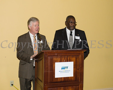 Orange County Director of Operations Harry Porr and Orange County Legislator Curlie Dillard offers remarks as Meals on Wheels of Greater Newburgh celebrated its 45th anniversary and its founder, Frederica Warner's 100th birthday on Sunday, November 19, 2017 at the Powelton Club in Newburgh, NY. Hudson Valley Press/CHUCK STEWART, JR.