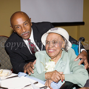 George Bowles and Meals on Wheels of Greater Newburgh founder Frederica Warner share a moment as the organization celebrated its 45th anniversary and Warner's 100th birthday on Sunday, November 19, 2017 at the Powelton Club in Newburgh, NY. Hudson Valley Press/CHUCK STEWART, JR.