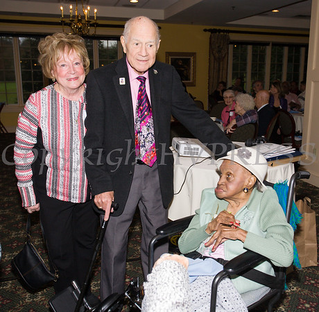 Patricia and NYS Senator William Larkin with Meals on Wheels of Greater Newburgh founder Frederica Warner, who celebrated her 100th birthday and the organizatins 45th on Sunday, November 19, 2017 at the Powelton Club in Newburgh, NY. Hudson Valley Press/CHUCK STEWART, JR.