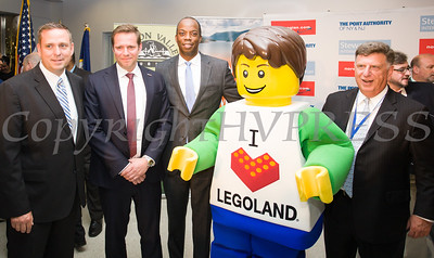 Steve Neuhaus, County Executive of Orange County, Thomas Ramdahl, Chief Commercial Officer, Norwegian Air,  Huntley Lawrence, Director of The Port Authority of New York and New Jersey's Aviation Department, and Ed Harrison, Port Authority of NY and NJ, General Manager, Stewart International Airport with the Legoland mascot as the group celebrated the launch of Norwegian's first scheduled international service from Stewart International Airport on June 15, 2017. Hudson Valley Press/CHUCK STEWART, JR.
