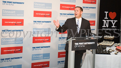 Orange County Executive Steve Neuhaus offers remarks on the occassion of the launch of Norwegian's first scheduled international service from Stewart International Airport on June 15, 2017. Hudson Valley Press/CHUCK STEWART, JR.