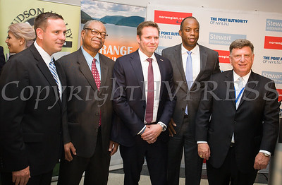 Steve Neuhaus, County Executive of Orange County, Markly Wilson, Empire State Development/ I LOVE NEW YORK, Thomas Ramdahl, Chief Commercial Officer, Norwegian Air,  Huntley Lawrence, Director of The Port Authority of New York and New Jersey's Aviation Department, and Ed Harrison, Port Authority of NY and NJ, General Manager, Stewart International Airport celebrate the launch of Norwegian's first scheduled international service from Stewart International Airport on June 15, 2017. Hudson Valley Press/CHUCK STEWART, JR.