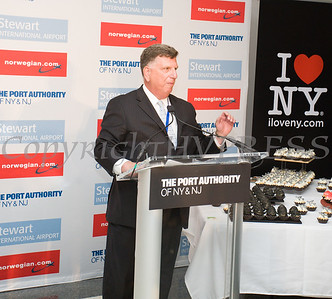 Ed Harrison, Port Authority of NY and NJ, General Manager, Stewart International Airport, offers remarks during a ribbon cutting held to celebrate the launch of Norwegian's first scheduled international service from Stewart International Airport on June 15, 2017. Hudson Valley Press/CHUCK STEWART, JR.