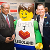 Markly Wilson, Empire State Development/ I LOVE NEW YORK and Phil Royle, head of communications and project relations for Legoland New York pose with the Legoland mascot during a ribbon-cutting to celebrate the launch of Norwegian's first scheduled international service from Stewart International Airport on June 15, 2017. Hudson Valley Press/CHUCK STEWART, JR.