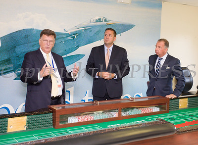 Stewart Airport General Manager Ed Harrison, Orange County Executive Steven Neuhau and Executive Vice President of Empire Resorts Charles Degliomini offer remarks on the new Resorts World Catskills casino dealer school and educational center at Stewart International Airport in New Windsor, NY on Thursday, September 7, 2017. Hudson Valley Press/CHUCK STEWART, JR.