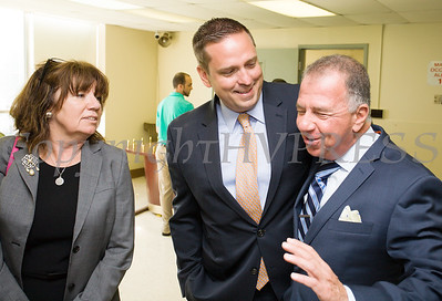 Orange County Chamber President & CEO Lynn Allen Cione, Orange County Executive Steven Neuhaus and Executive Vice President of Empire Resorts Charles Degliomini at the new Resorts World Catskills casino dealer school and educational center at Stewart International Airport in New Windsor, NY on Thursday, September 7, 2017. Hudson Valley Press/CHUCK STEWART, JR.
