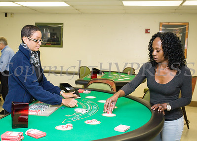 Dealers-in-training Sasha Freckleton and Tanya Crowder demonstrate their new card skills following the new Resorts World Catskills ribbon cutting for its newly opened casino dealer school and educational center at Stewart International Airport in New Windsor, NY, Thursday, September 7, 2017. Hudson Valley Press/CHUCK STEWART, JR.