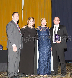 Mauri Architects partners Martin Diesing and Richard Tompkins accept the Hope Award from Anna Gibbs and Kellyann Kostyal-Larrier, as Safe Homes of Orange County celebrated its 31st Anniversary with a Celebration of Hope Masquerade Ball on Friday, October 20, 2017. Hudson Valley Press/CHUCK STEWART, JR.