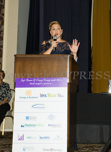 Safe Homes of Orange County Executive Director Kellyann Kostyal-Larrier welcomes everyone to the organizations Celebration of Hope Masquerade Ball on Friday, October 20, 2017. Hudson Valley Press/CHUCK STEWART, JR.