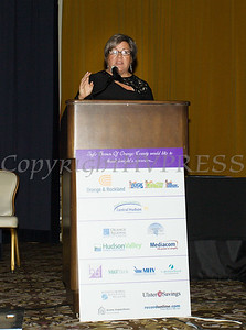 Linda Muller, President and CEO of Cornerstone Family Healthcare accepts the Mildred Warren Good-Neighbor Award as Safe Homes of Orange County celebrated its 31st Anniversary with a Celebration of Hope Masquerade Ball on Friday, October 20, 2017. Hudson Valley Press/CHUCK STEWART, JR.