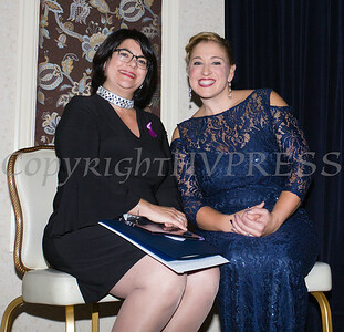 Jane Chertock Legacy Award recipient Shannon Wong and Executive Director Kellyann Kostyal-Larrier enjoy Safe Homes of Orange County Celebration of Hope Masquerade Ball on Friday, October 20, 2017. Hudson Valley Press/CHUCK STEWART, JR.