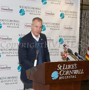 US Rep. Sean Patrick Maloney (NY-18) offers remarks as St. Luke's Cornwall Hospital in Newburgh announced a major expansion and upgrade to its emergency department. Hudson Valley Press/CHUCK STEWART, JR.