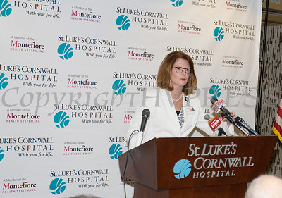 St. Luke's Cornwall Hospital President Joan Cusack-McGuirk announced a major expansion and upgrade to the hospital's Newburgh emergency department. Hudson Valley Press/CHUCK STEWART, JR.