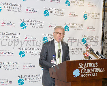 President and CEO of Crystal Run Healthcare Dr. Hal Teitelbaum offers remarks as St. Luke's Cornwall Hospital in Newburgh announced a major expansion and upgrade to its emergency department. Hudson Valley Press/CHUCK STEWART, JR.