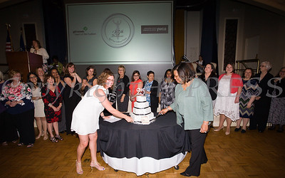 A cake was cut by YWCA Orange County Executive Director Christine Sadowski and Girl Scouts Heart of the Hudson CO and Acting CEO Patricia Page in celebration of the 25th Annual Tribute to Women of Achievement of Orange County held at Anthony's Pier 9 in New Windsor, NY on Wednesday, May 19, 2017. Hudson Press/CHUCK STEWART, JR.