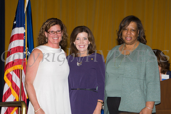 YWCA Orange County Executive Director Christine Sadowski, New York State Lieutenant Governor Kathy Hochul and Girl Scouts Heart of the Hudson CFO and Acting CEO Patricia Page at the 25th Annual Tribute to Women of Achievement of Orange County held at Anthony's Pier 9 in New Windsor, NY on Wednesday, May 19, 2017. Hudson Press/CHUCK STEWART, JR.