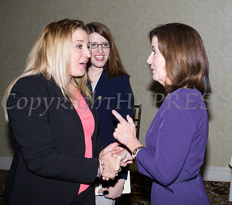New York State Lieutenant Governor Kathy Hochul (right) and Kellyann Kostyal-Larrier at the 25th Annual Tribute to Women of Achievement of Orange County held at Anthony's Pier 9 in New Windsor, NY on Wednesday, May 19, 2017. Hudson Press/CHUCK STEWART, JR.