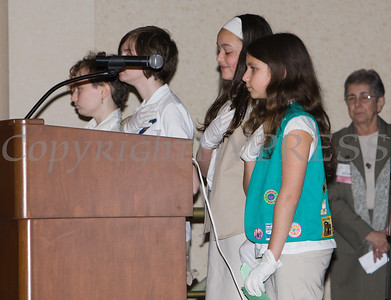 Cornwall Girl Scouts say the pledge  during the 25th Annual Tribute to Women of Achievement of Orange County held at Anthony's Pier 9 in New Windsor, NY on Wednesday, May 19, 2017. Hudson Press/CHUCK STEWART, JR.