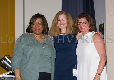 Girl Scouts Heart of the Hudson CFO and Acting CEO Patricia Page, Honoree Master Sergeant MaryKay Messenger and YWCA Orange County Executive Director Christine Sadowski at the 25th Annual Tribute to Women of Achievement of Orange County held at Anthony's Pier 9 in New Windsor, NY on Wednesday, May 19, 2017. Hudson Press/CHUCK STEWART, JR.