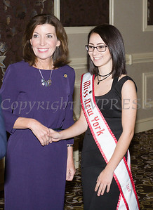 New York State Lieutenant Governor Kathy Hochul and National American Miss 2016 New York Teen Nikki Carpenter at the 25th Annual Tribute to Women of Achievement of Orange County held at Anthony's Pier 9 in New Windsor, NY on Wednesday, May 19, 2017. Hudson Press/CHUCK STEWART, JR.