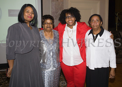 Beverly Odom, Sophie Ware, Honoree Kanisha Henderson and Betty Russell at the 25th Annual Tribute to Women of Achievement of Orange County held at Anthony's Pier 9 in New Windsor, NY on Wednesday, May 19, 2017. Hudson Press/CHUCK STEWART, JR.