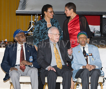 "Front row: Tuskegee Airman Wilfred DeFour, B-17 navigator Harvey Horn and Tuskegee Airmen ""Coach"" Roscoe Draper. Second row: Major General Irene Trowell-Harris and Anne Palmer at the 19th Annual Tuition Assistance Awards Celebration of the Major General Irene Trowell-Harris Chapter of the Tuskegee Airmen held on Saturday, February 4, 2017 at Anthony's Pier 9 in New Windsor, NY. Hudson Valley Press/CHUCK STEWART, JR."
