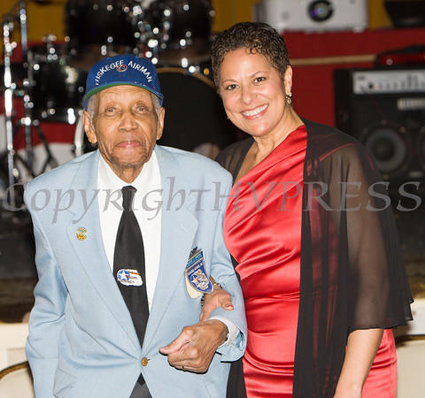 "Tuskegee Airmen ""Coach"" Roscoe Draper with Anne Palmer during the 19th Annual Tuition Assistance Awards Celebration of the Major General Irene Trowell-Harris Chapter of the Tuskegee Airmen on Saturday, February 4, 2017 at Anthony's Pier 9 in New Windsor, NY. Hudson Valley Press/CHUCK STEWART, JR."