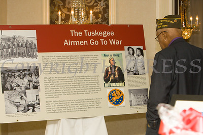 People learned about the Tuskegee Airmen during the 19th Annual Tuition Assistance Awards Celebration of the Major General Irene Trowell-Harris Chapter of the Tuskegee Airmen on Saturday, February 4, 2017 at Anthony's Pier 9 in New Windsor, NY. Hudson Valley Press/CHUCK STEWART, JR.