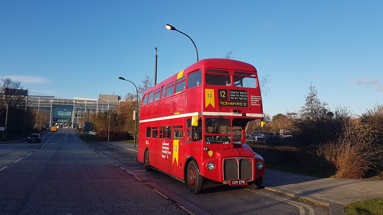 Preserved AEC Routemaster CUV271C RML2271 at Milton Keynes Central on private hire work, 08.12.2017.