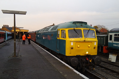 On a bitterly cold afternoon, 47367 awaits departure from Dereham with the delayed 1W07 1220 to Wymondham Abbey during the mid Norfolk Railway's 'Winter Warmer' Gala (2912/2017)