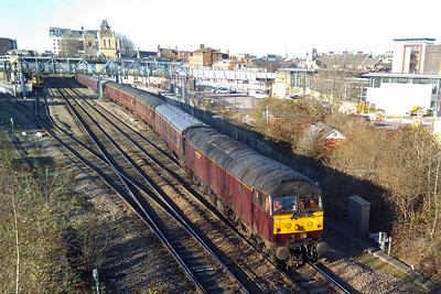 47237 departs Lincoln for Barnetby with the empty stock off SRPS Railtours' 1Z30 0523 charter from Linlithgow, which it had worked throughout (08/12/2017)