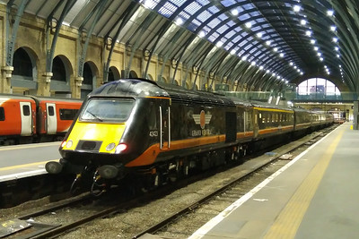 Grand Central's 'HSTs' have been a daily visitors to Kings Cross for the last decade but are due to be retired at the end of the month and repaced by '180s' released from Great Western. 43423 'Valenta 1972-2010' heads 1N90 0811 to Sunderland (09/12/2017)